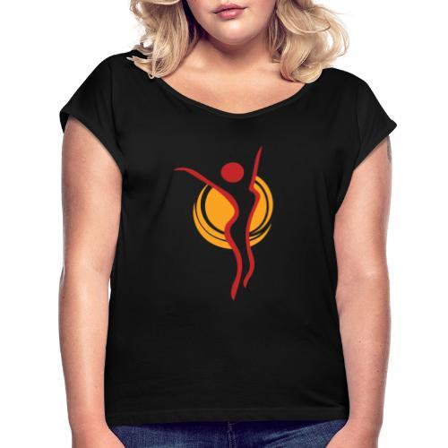 Kaisan Sporttiklubi ikoni - Naisten T-paita, jossa rullatut hihat