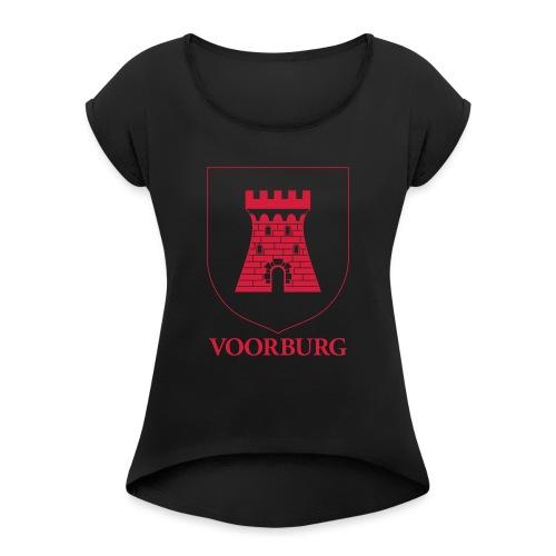 Voorburg wapen lijn - Vrouwen T-shirt met opgerolde mouwen