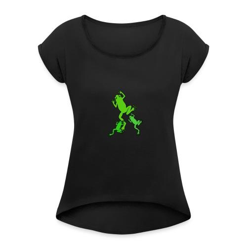 Frosch Familie - Frauen T-Shirt mit gerollten Ärmeln