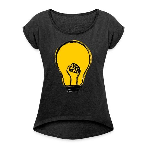 Helles Köpfchen - Frauen T-Shirt mit gerollten Ärmeln