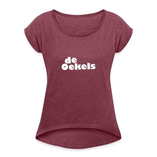 DeOekels t-shirt Logo wit - Vrouwen T-shirt met opgerolde mouwen