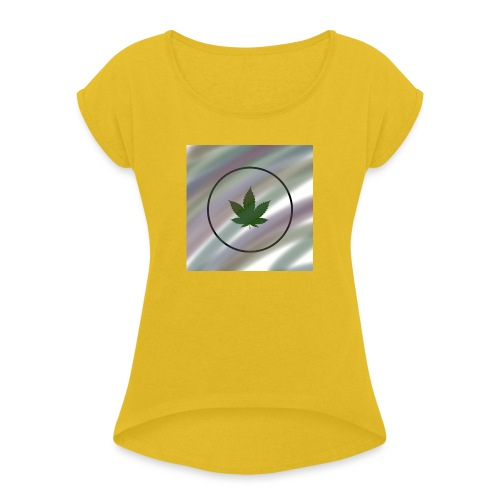 Hanfblatt - Frauen T-Shirt mit gerollten Ärmeln