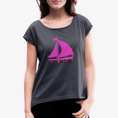 PINK SAILOR - T-shirt med upprullade ärmar dam