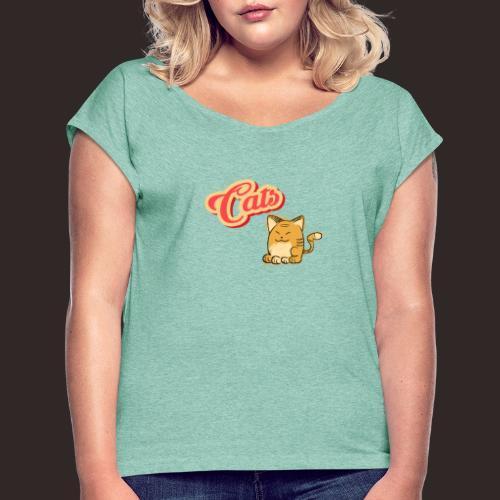 Katze | Katzen süß Schriftzug - Frauen T-Shirt mit gerollten Ärmeln