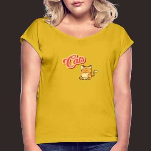 Katze   Katzen süß Schriftzug - Frauen T-Shirt mit gerollten Ärmeln