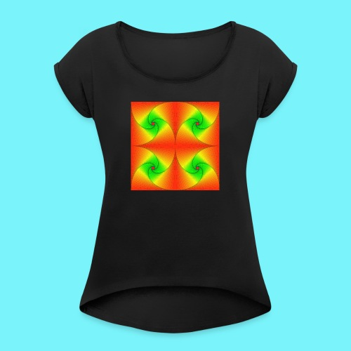 Pursuit curves in red and green - Women's T-Shirt with rolled up sleeves