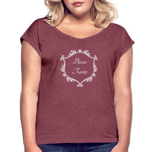 Beste Tante - Frauen T-Shirt mit gerollten Ärmeln