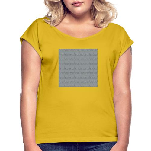 helsinki railway station pattern gray - Women's T-Shirt with rolled up sleeves