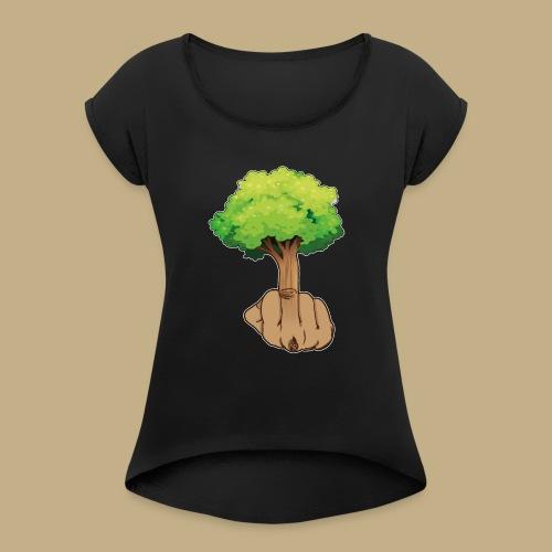 Mittelfingerbaum - Frauen T-Shirt mit gerollten Ärmeln