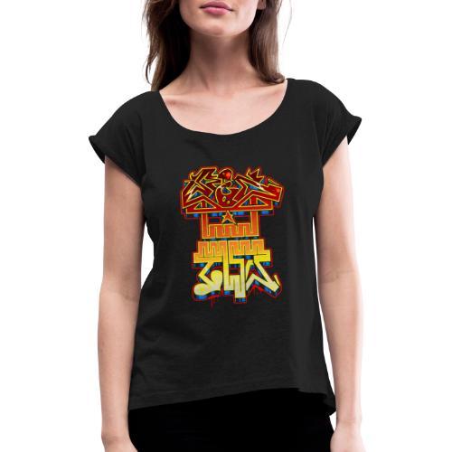 REDTWO SKULL - Maglietta da donna con risvolti