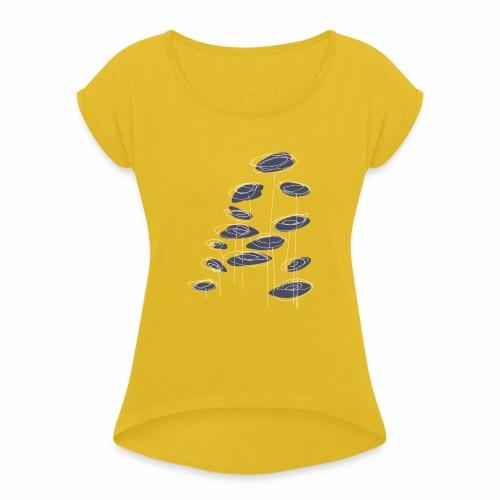 abstract bloemen 004 - Vrouwen T-shirt met opgerolde mouwen