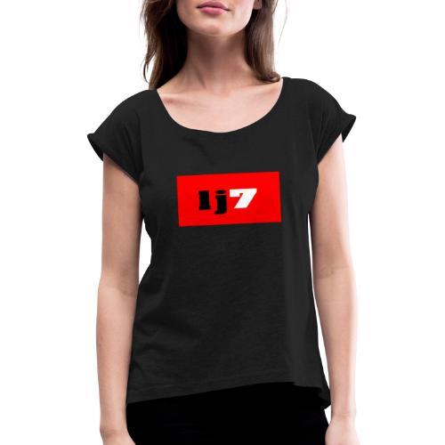 lj7 - T-shirt med upprullade ärmar dam