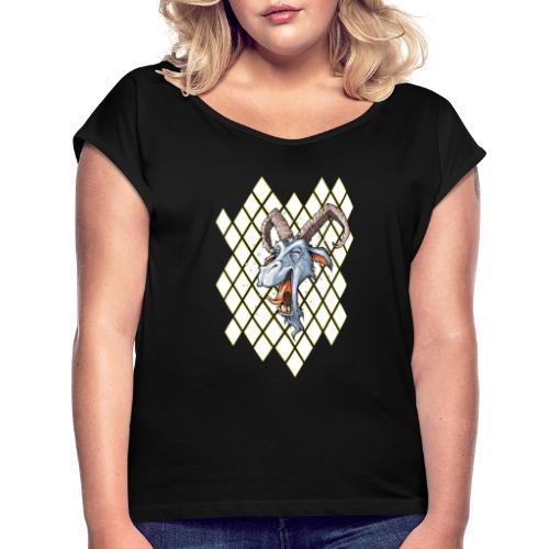 blauer bock - Frauen T-Shirt mit gerollten Ärmeln
