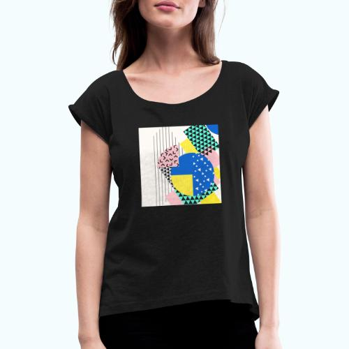 Retro Vintage Shapes Abstract - Women's T-Shirt with rolled up sleeves