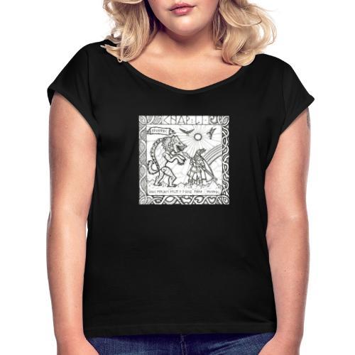 Le Dieu Odin contre le loup Fenrir - T-shirt à manches retroussées Femme
