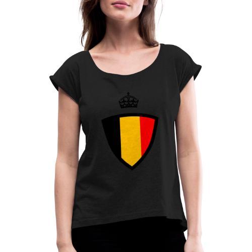 Koninkrijk belgië schild - T-shirt à manches retroussées Femme
