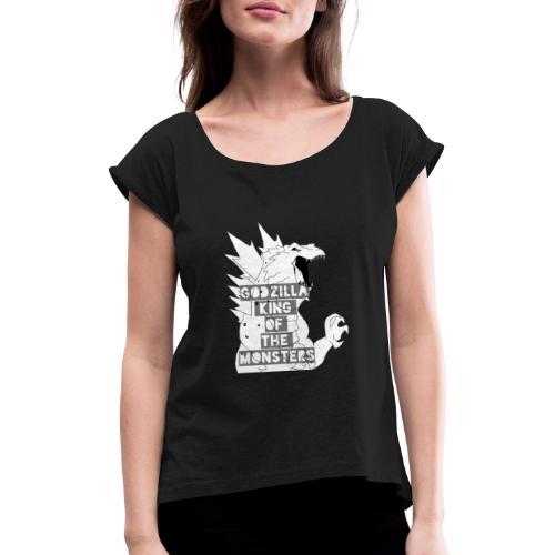 Godzilla - Koszulka damska z lekko podwiniętymi rękawami