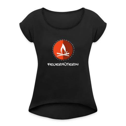 feuerhu terin white 2 - Frauen T-Shirt mit gerollten Ärmeln