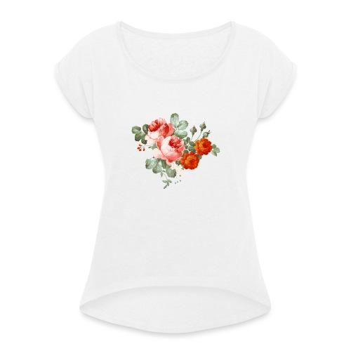 flores - Camiseta con manga enrollada mujer