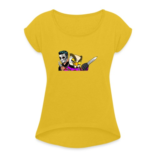 Black ops Extreme merch both my GTA characters - Women's T-Shirt with rolled up sleeves