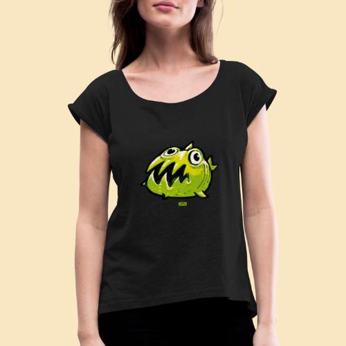 Worryfish Fishtown - Frauen T-Shirt mit gerollten Ärmeln