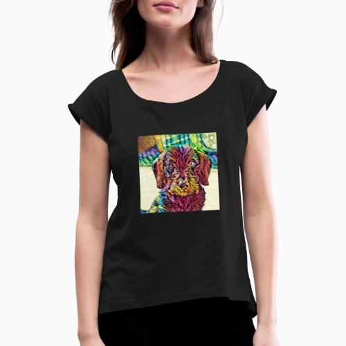 Rauhaardackel Welpe Kunst - Frauen T-Shirt mit gerollten Ärmeln