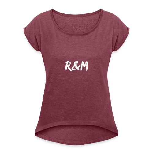 R&M Large Logo tshirt black - Women's T-Shirt with rolled up sleeves