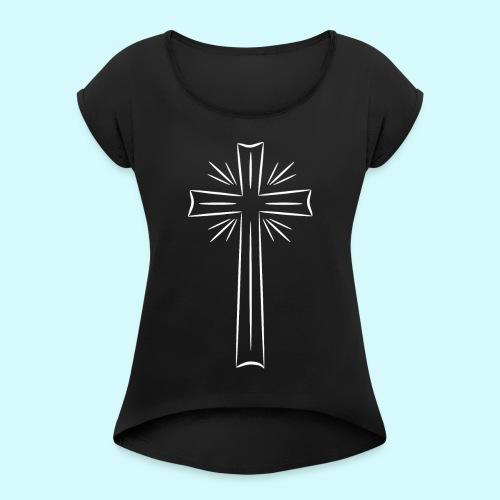 Kreuz weiß - Frauen T-Shirt mit gerollten Ärmeln
