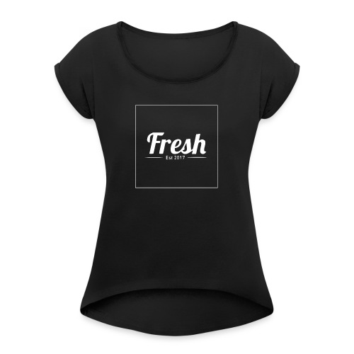 white square - Women's T-Shirt with rolled up sleeves