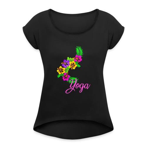 yoga exotic flower - T-shirt à manches retroussées Femme