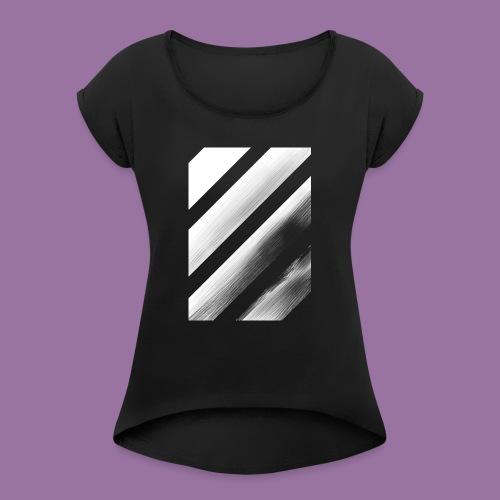 Stripes Diagonal White - Maglietta da donna con risvolti