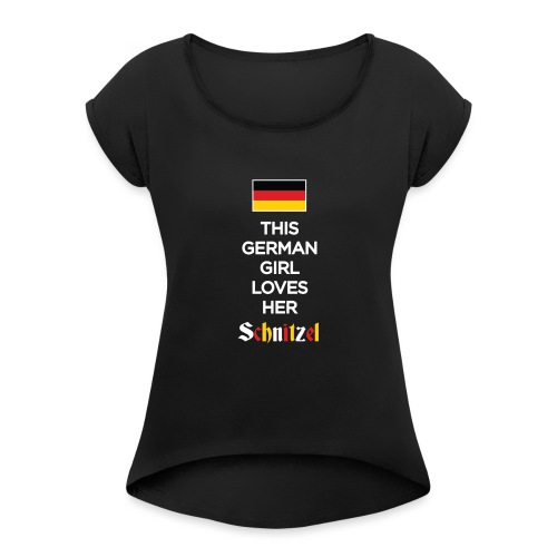 Girl loves her Schnitzel - Frauen T-Shirt mit gerollten Ärmeln