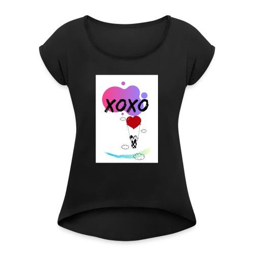 loveintheair - Camiseta con manga enrollada mujer