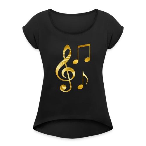 Music Notes - Frauen T-Shirt mit gerollten Ärmeln