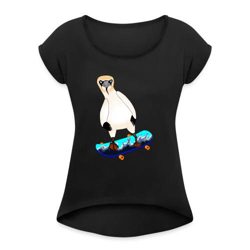 Skateboarding gannet - Women's T-Shirt with rolled up sleeves