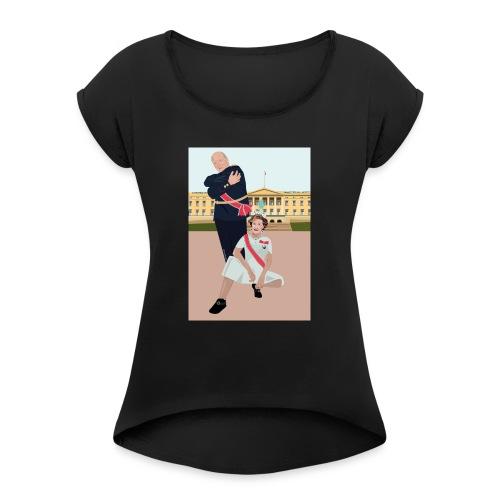 Slottet - T-skjorte med rulleermer for kvinner