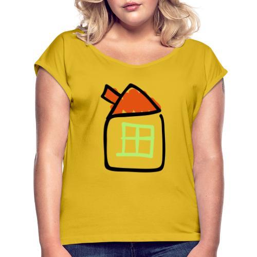 House Line Drawing Pixellamb - Frauen T-Shirt mit gerollten Ärmeln