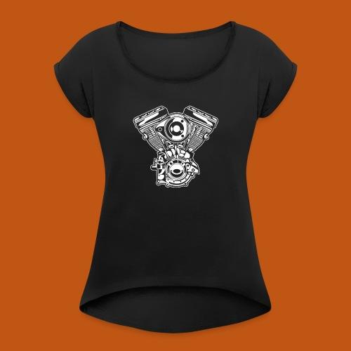 Motorrad Motor / Engine 01_weiß - Frauen T-Shirt mit gerollten Ärmeln
