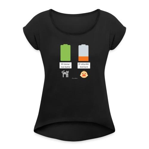Livsbatteriet KATT - T-shirt med upprullade ärmar dam