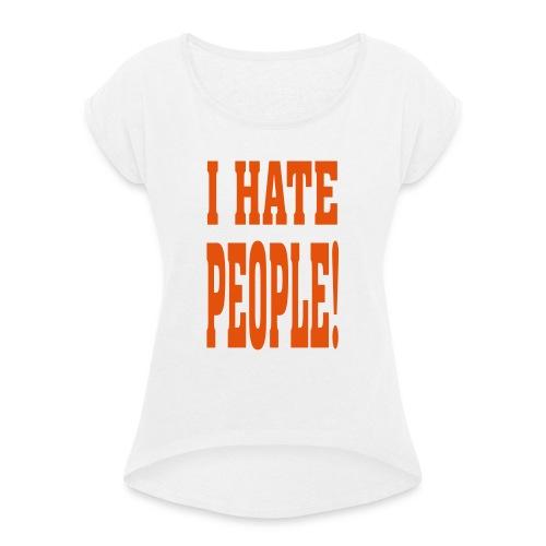 ik hou van dieren - Vrouwen T-shirt met opgerolde mouwen