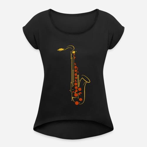Goldenes Saxophon - Frauen T-Shirt mit gerollten Ärmeln