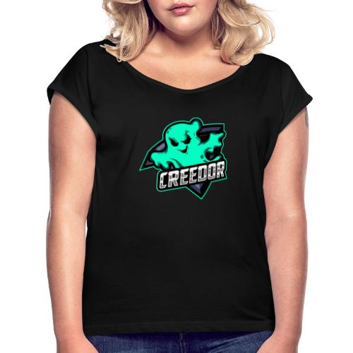 FA6D9458 668F 4B0B 93D3 432167FBB4E3 - Frauen T-Shirt mit gerollten Ärmeln