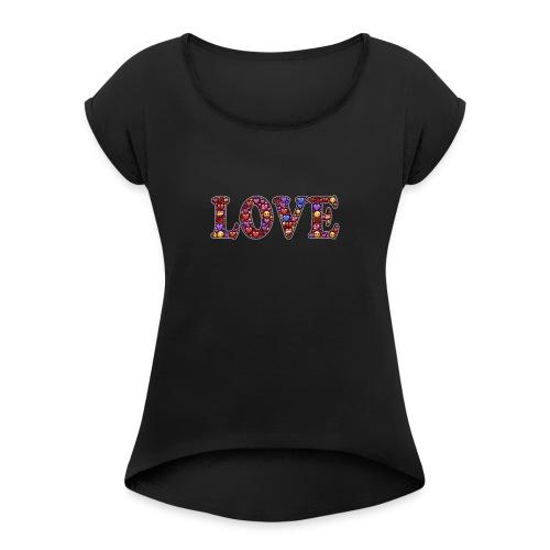 Emoji Love T- Shirt - Frauen T-Shirt mit gerollten Ärmeln