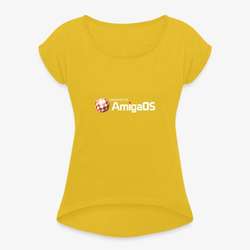 PoweredByAmigaOS white - Women's T-Shirt with rolled up sleeves