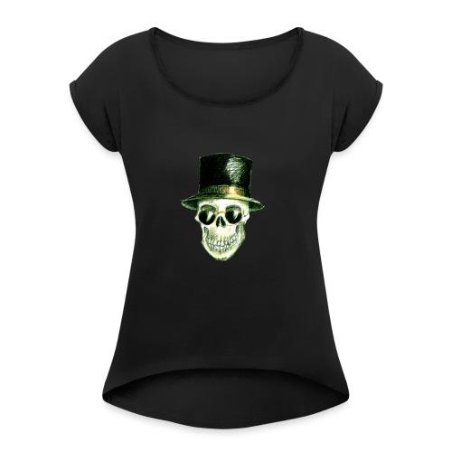Schädel Hatter - Frauen T-Shirt mit gerollten Ärmeln