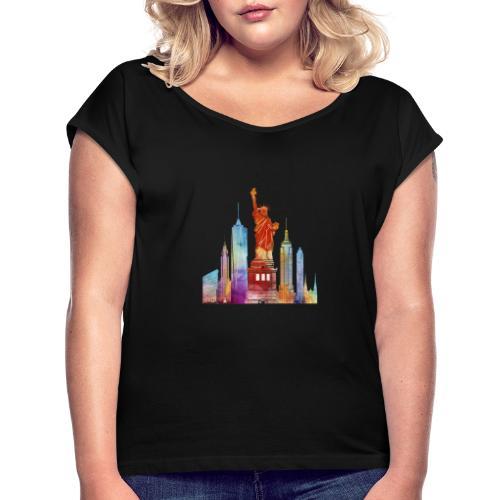 new york city watercolor - T-shirt à manches retroussées Femme
