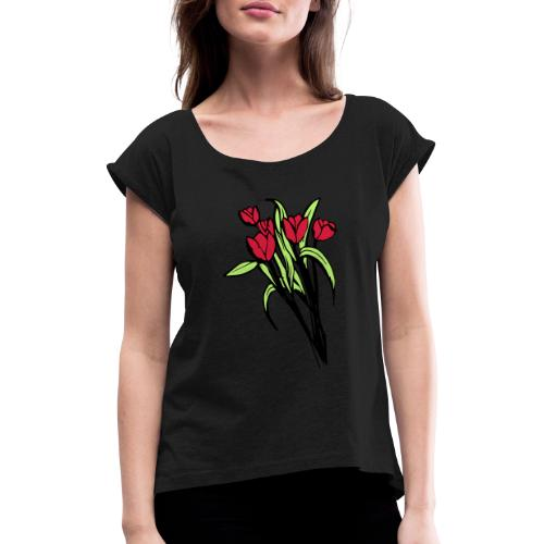 flower V3 - Women's T-Shirt with rolled up sleeves