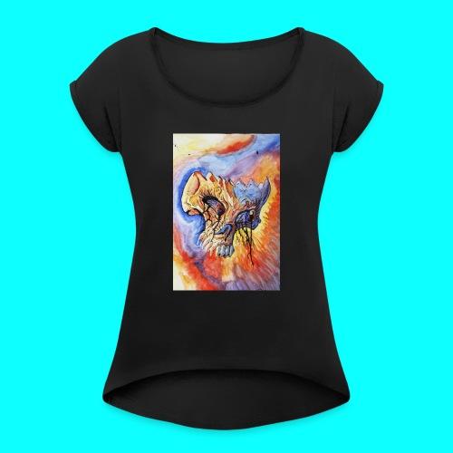 Calavera Acuarela - Camiseta con manga enrollada mujer