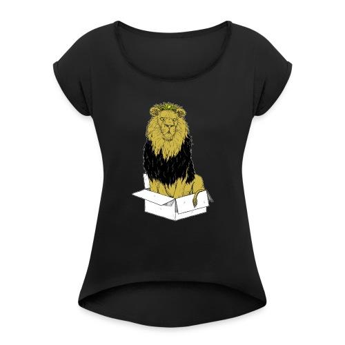 my box is my castle colour - Frauen T-Shirt mit gerollten Ärmeln