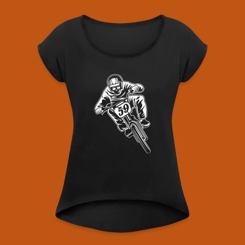 BMX Fahrrad / Bike 02_weiß - Frauen T-Shirt mit gerollten Ärmeln